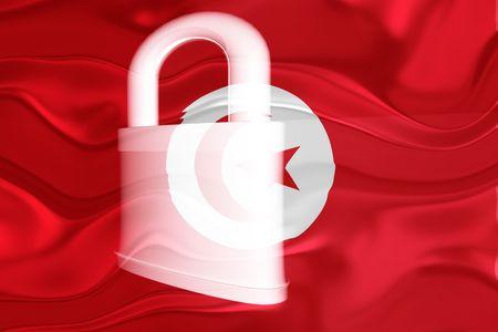Flag of Tunisia, national country symbol illustration wavy security lock protection Stock Illustration - 6711619