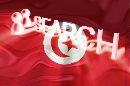 Flag of Tunisia, national country symbol illustration wavy internet search technology illustration