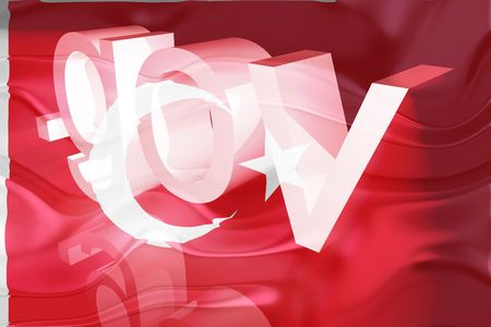 gov: Flag of Turkey, national country symbol illustration wavy gov government website