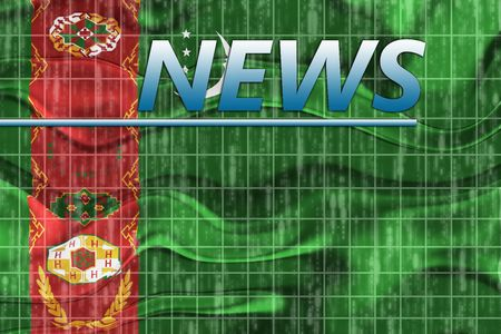 breaking wave: News information splash Flag of Turkmenistan, national country symbol illustration wavy Stock Photo