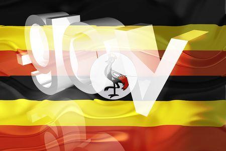 gov: Flag of Uganda, national country symbol illustration wavy gov government website