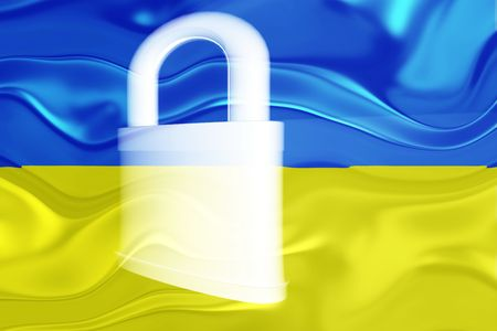 guarded: Flag of Ukraine, national country symbol illustration wavy security lock protection