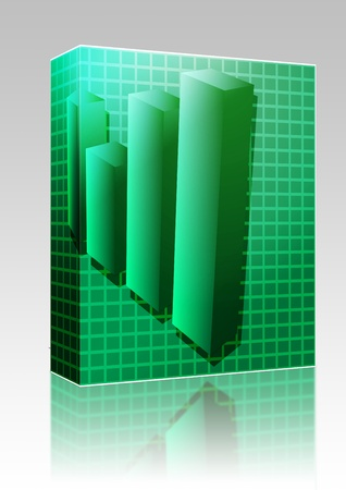 barchart: Software package box Three-d barchart financial diagram illustration over square grid Stock Photo