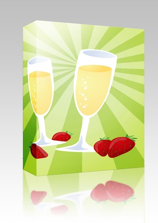 Software package box Romantic celebration with champagne and strawberries, illustration illustration