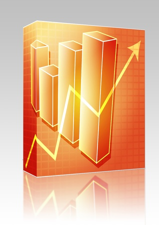 barchart: Software package box Three-d barchart and upwards line graph financial diagram illustration over square grid