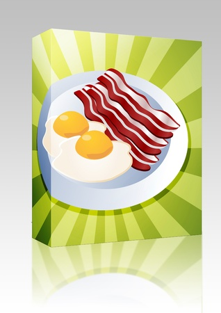 Software package box Bacon and eggs breakfast on plate  illustration illustration