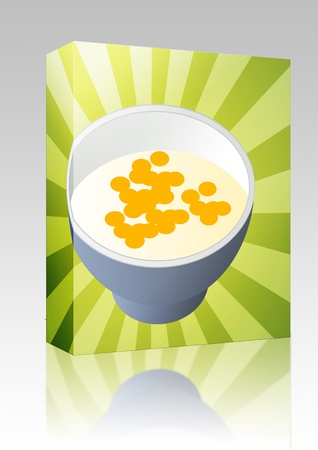 Software package box Breakfast cereal with milk in a bowl illustration