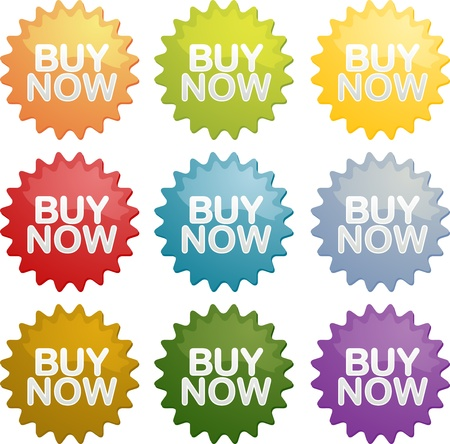 Buy now announcement sign emblem seal symbol different colors set Stock Photo - 8634881