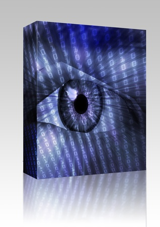 Software package box Electronic eye with glowing energy effects, digital illustration Stock Illustration - 8635213