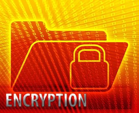 encrypted: Secure date encryption locked information folder concept illustration