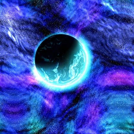 Science fiction cosmic planet complex space scene illustration Stock Illustration - 8635724
