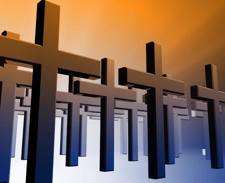 Many christian church crosses in group,  religious illustration illustration