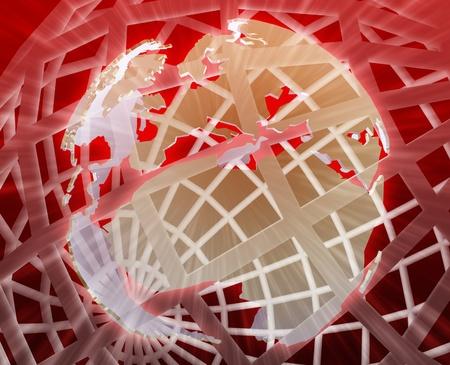 globe grid: Abstract globe grid wireframe Europe world map illustration