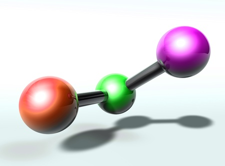 chemical bonds: Molecule model molecular atomic structure illustration, glossy chrome Stock Photo
