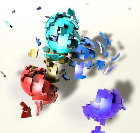 detonation: Abstract background illustration of shattered colorful geometric shapes