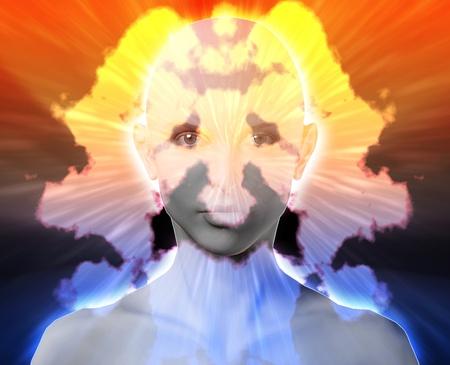 neurosis: Female psychiatric treatment mental health rorschach inkblot concept Stock Photo