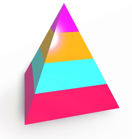 Layered heirarchy pyramid illustration, 3d colored illustration