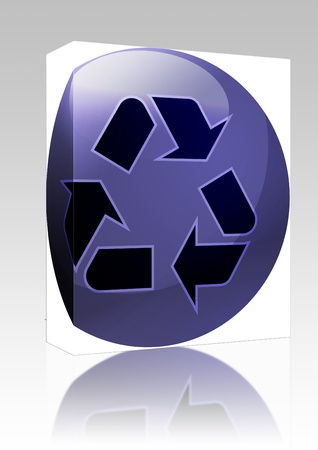 Software package box Recycling eco symbol illustration of three pointing arrows on a glossy sphere illustration