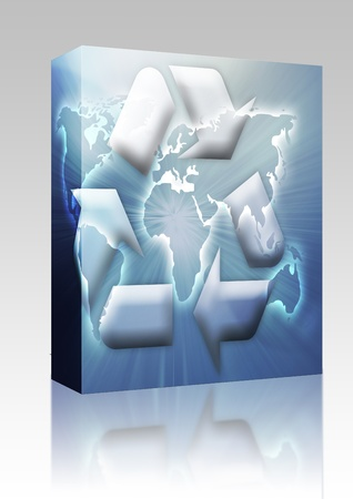 Software package box Recycling eco symbol illustration over world map illustration