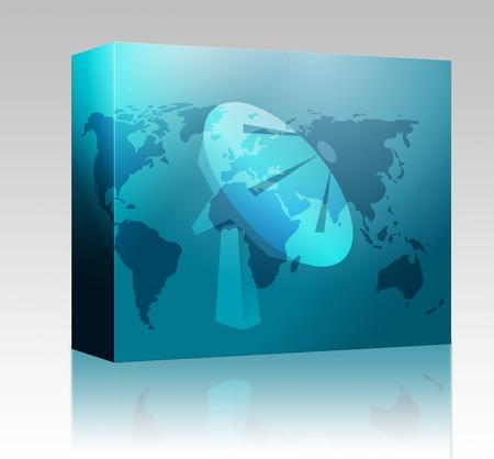 tele: Software package box Satellite dish clipart illustrating advanced tele communications