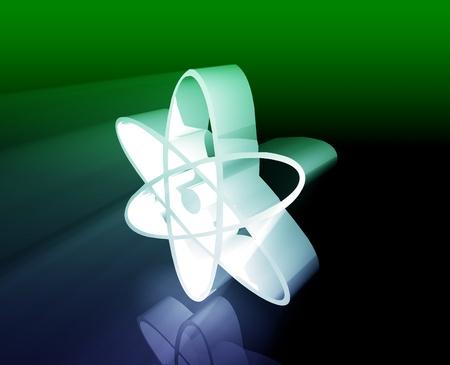 radium: Atomic nuclear symbol scientific illustration of orbiting atom Stock Photo