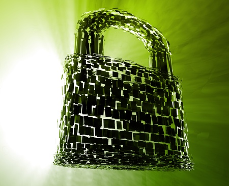 digital security: Hacking bypass compromised security with broken lock  concept illustration
