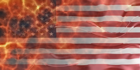 rippling: Flag of United States of America, national country symbol illustration wavy burning flames fire