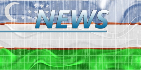 newsflash: News information splash Flag of Uzbekistan, national country symbol illustration wavy