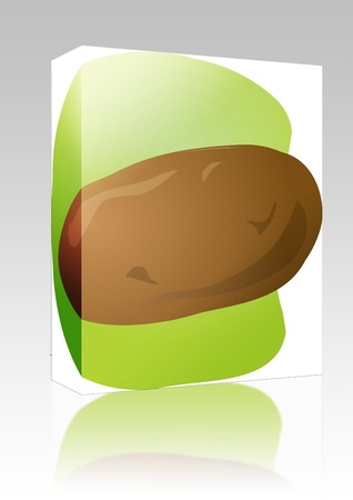 unpeeled: Software package box Sketch of a potato. Hand-drawn lineart look illustration Stock Photo