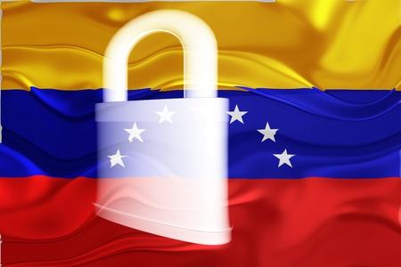 Flag of Venezuela, national country symbol illustration wavy security lock protection illustration