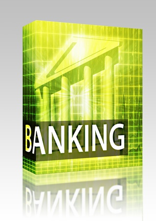 Software package box Banking illustration, financial diagram with bank building illustration