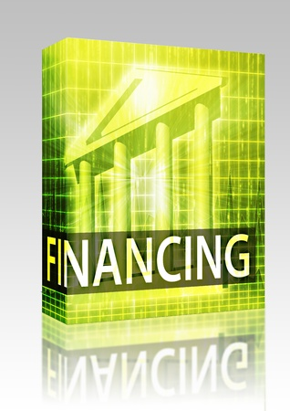 Software package box Financing illustration, financial diagram with bank building illustration