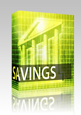 Software package box Savings illustration, financial diagram with bank building illustration
