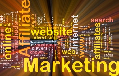 affiliates: Software package box Word cloud concept illustration of affiliate marketing Stock Photo