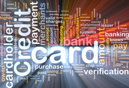 bank statement: Software package box Word cloud concept illustration of credit card