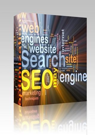 Software package box Software package box Word cloud concept illustration of SEO Search Engine Optimization Stock Illustration - 8635327