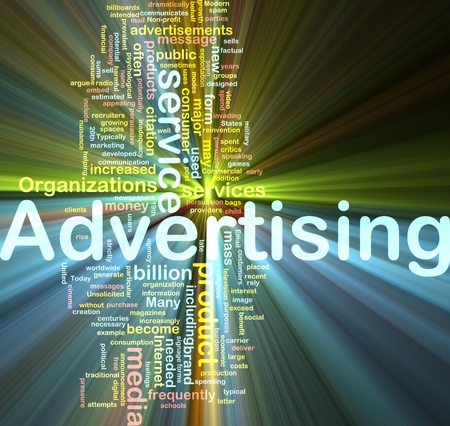 Word cloud concept illustration of media advertising glowing light effect  Stock Photo