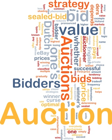 optimal: Background concept illustration of Auction bid sale Stock Photo