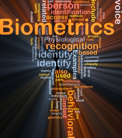 recognizing: Software package box Word cloud concept illustration of biometrics recognition