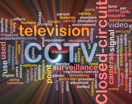 closed circuit television: Software package box Word cloud concept illustration of CCTV surveillance cameras