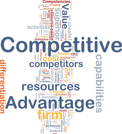 Ilustración de wordcloud de concepto de fondo de la ventaja competitiva de negocios