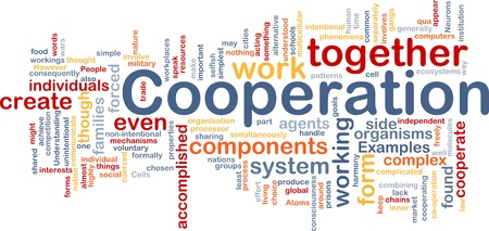 intentional: Background concept wordcloud illustration of cooperation management together Stock Photo
