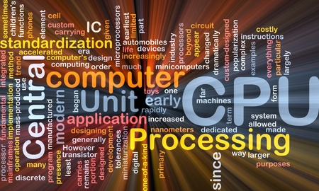 Software package box Word cloud concept illustration of computer CPU illustration