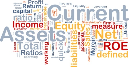 apalancamiento: Ilustraci�n de wordcloud de concepto de fondo de activos actuales de finanzas Foto de archivo