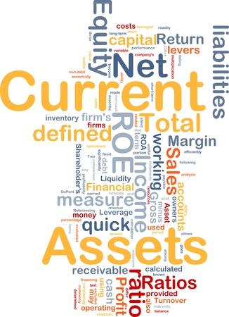 margen: Ilustraci�n de wordcloud de concepto de fondo de activos actuales de finanzas Foto de archivo