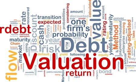 probability: Background concept wordcloud illustration of debt valuation finance