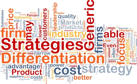 Background concept wordcloud illustration of business differentiation strategies illustration