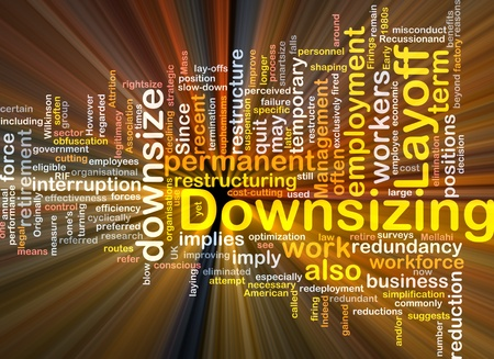 organisational: Software package box Word cloud concept illustration of downsizing restructuring