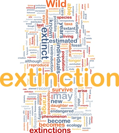 extinction: Background concept wordcloud illustration of species extinction event