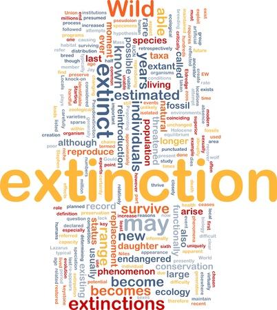 Background concept wordcloud illustration of species extinction event